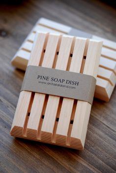 Was $8.50, Now $5.10 1 0 0 % . P I N E W O O D . S O A P D I S H This simple wooden soap dish is made with all natural pine wood and handcrafted in Canada. It is natural color with no extra stains or preservatives. The wooden soap dish has been cut in a manner that allows water to drain completely through the dish and away from your soap. The drainage slots and naturally absorbent wood help keep your handmade soap dry between uses and last soap longer. Soap dish measures: 4 1/4 x 2 1/2 x ...