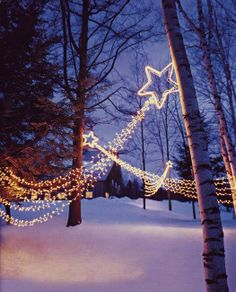 Pin to the edge of the house & string the lights from it.