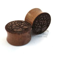 "Tree of Life Walnut Wooden Plugs - 2g (6mm) 0g (8mm) 00g (9mm) (10mm) 7/16"" (11mm) 1/2"" (13mm) 9/16"" (14mm) 5/8"" (16mm) 3/4"" (19mm) 7/8"""