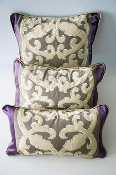 """Opulent Aubergine cushion with silk satin stripe, contrasting ornamental velour applique and velvet or satin piping & backing. Available in size 16"""" x 16"""", 16"""" x 12"""", 16"""" x 10"""" from Conbu Interior Design www.conbudesign.com"""