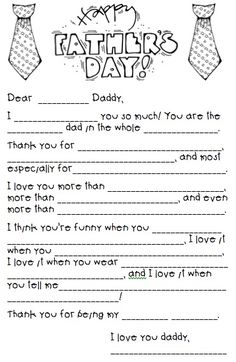 A free printout mad lib questionnaire for Father's Day @ in-the-cornerin-the-corner. So fun for kids to fill out for a fathers day gift!