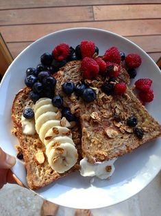 Toast with almond butter and fruit! I eat this for breakfast every morning it's delicious and amazing.