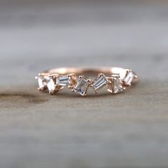 14k Rose Gold Dainty Baguette Cut Rectangle Diamond Band Stackable Design Ring…