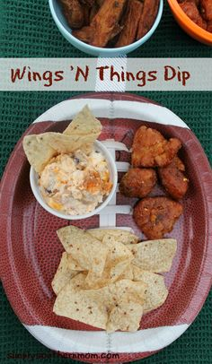 #ad Simple Cheesy Wing Dip will make you a #gametimehero. Only four ingredients! #shop