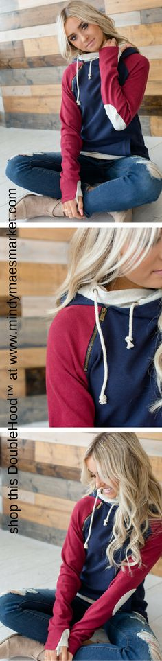 Elbow Patch DoubleHood at Mindy Mae's Market \\ cute hoodie, sweatshirt, closet, clothes, outfit, cute sweatshirt, varsity sweatshirt, elbow patches, outfit idea, boutique, style, fashion