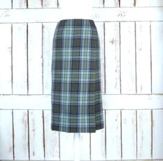 20 off fall sale Vintage green plaid long by GreenCanyonTradingCo