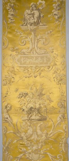 Yellow Fabric Depicting Cupid with a Lion and a Vase of Flowers | France; Lyon | 1860s | silk | The Hermitage