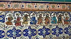 Precious Safavid era tiles from a hammam in Kerman show scenes from everyday life. (Thank you to Mohammad Hassan Sharafi.)