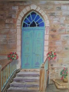 Blue door pastel