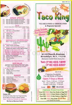 Taco King Chinese Tex-Mex Restaurant in Brooklyn, 11218: Menus, Photos ...