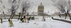 Александр Воцмуш. Весёлый снежок. Бумага, акварель. 2013