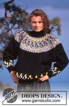 DROPS 19-12 - DROPS jumper with flower border round neckline in Karisma. - Free pattern by DROPS Design