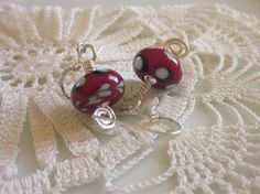 Red Handcrafted Lampwork Glass Sterling by BlueberryBayBeads