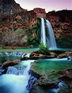 Blue Water, Havasupai Indians, Arizona. Well since I'm going to live in Arizona in the future this is definitely on the sights to see list! :)