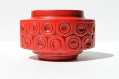 Mid Century Modern Vintage McCoy Red Circles by formfunctionlove