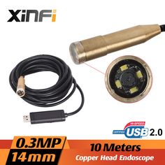 Xinfi High Quality 10M Mini USB 2.0 Waterproof Endoscope Inspection Copper Tube Pipe Head Camera 14.5mm with 4 LED