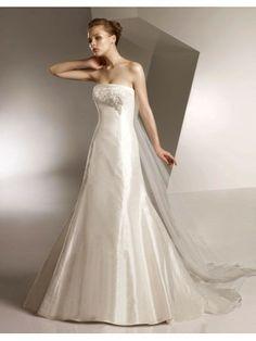 Taffeta Strapless Embroidered Bodice A-line Wedding Dress