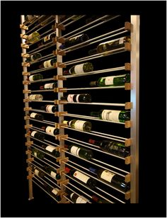 28 3/4 x 96 x 3 1/2 - 3.6 WINE RACK FOR BOTTLES, FROM FLOOR TO CEILING, DOUBLE., WALL-OUT Wine Cellar Racks, Wine Rack Wall, Wine Wall, Home Wine Bar, Home Wine Cellars, Wine Shelves, Wine Storage, Wine Cellar Modern, Caves