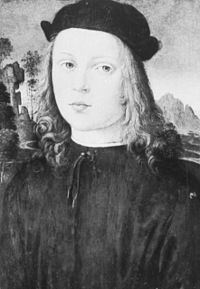 Alfonso of Aragon (1481–1500), Duke of Bisceglie and Prince of Salerno of the House of Trastámara, was the illegitimate son of Alfonso II King of Naples and his mistress Trogia Gazzela. His father, cousin of Ferdinand II King of Aragon, abdicated in favour of his legitimate son Ferdinand II of Naples.