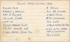 For a larger view click on the recipe cards.   Ingredients for Jewish Apple Coffee Cake: Flour, Eggs, Baking Powder, Sugar, Oil, Orange J...