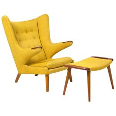 """Armchair """"Papa Bear"""" with footstool by Hans J. Wegner 