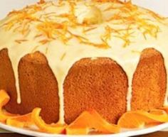 Impress your friends with this cake. Serve on a platter with orange twists. Top with orange zest for an over-the-top look. Orange Chiffon Cake, Cake Recipes, Snack Recipes, Greek Sweets, Gourmet Cakes, Drizzle Cake, Easy Cake Decorating, Vegan Desserts, Vegan Food