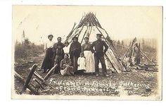 1910 GRAND MARAIS MINNESOTA INDIAN FAMILY rppc Real Photo Postcard