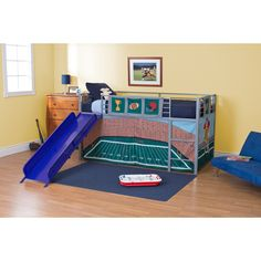 Football Stadium Junior Fantasy Loft with Slide - Silver - Your little sports star can dream of his favorite players as he slumbers in the comfort of his Football Stadium Junior Fantasy Loft with Slide - Silve...