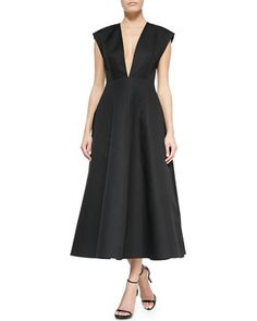 Absolutely love this dress...  Deep V-Neck Back-Pleated Dress, Black by Michael Kors