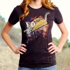 Taco Cat (GT5276-502BLK) Women's T-shirt. Taco, cats, cat lover, foodie, taco lover, women's t-shirt, space, mexican food, women's cat tees.