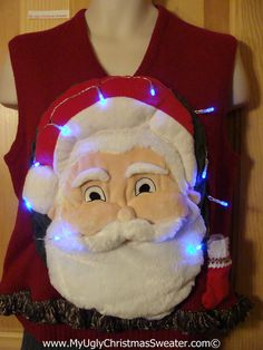Tacky 3D Ugly Christmas Sweater Vest Mens Puffy Santa with Lights and Fringe (A47)