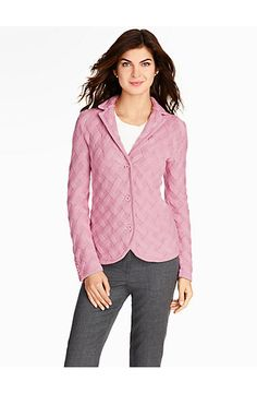I love the idea of a basket weave sweater jacket-TALBOTS