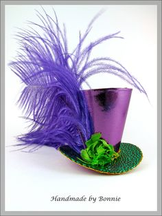 Tiny Top Hat / Mardi Gras Sparkle / Purple Mini Top Hat. via Etsy.
