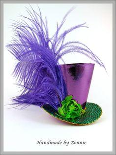 Tiny Top Hat / Mardi Gras Sparkle / Purple Mini Top Hat. via Etsy.