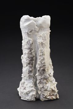 Eddie Curtis    Vase Form  , 2014 Clay, applied texture and oxides to outer surface, shino glaze on rim and inner surface 9.25 x 4.5 x 4.25 inches 23.5 x 11.4 x 10.8 cm ECu 4