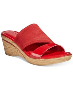 Tuscany By Easy Street Adagio Wedge Sandals - Red Wedge Sandals, Shoes Sandals, Closet Collection, Asymmetrical Design, Tuscany, Shoe Boots, Espadrilles, Slip On, Wedges