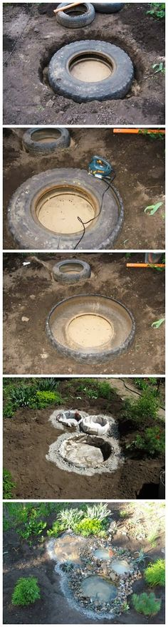 Diy recycled tyre pond