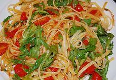Chefkoch.de Rezept: Pasta mit Tomaten und Rucola