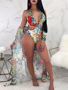 Shop Floral Print Strappy One-piece With Cover Up Sets – Discover sexy women fashion at IVRose Sexy Outfits, Summer Outfits, Cute Outfits, Fashion Outfits, Womens Fashion, Fashionable Outfits, Fashion 2018, Summer Clothes, Pretty Outfits