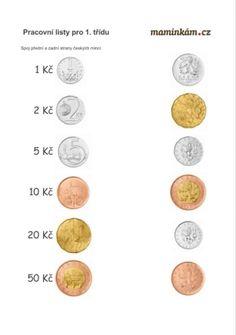 Pracovní listy 1. třída - matematika - počítání do 20 - české mince School, Logo, Autism, Nostalgia, Logos, Logo Type, Schools