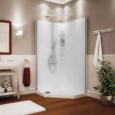 Wash away the day's stress with a Maax® Begonia™ Neo-Angle Shower Kit. Featuring a vapor glass pattern, this shower system will reinvigorate your bathroom. Laundry In Bathroom, Lighted Bathroom Mirror, Shower Stall, Bathroom Layout, Neo Angle Shower, Framed Bathroom Mirror, Privacy Glass, Maax, Corner Shower Units