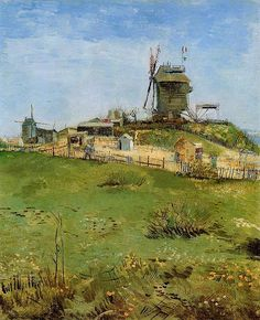 """The Moulin de la Galette, painted by Vincent Van Gogh in 1887 (Carnegie Museum of Art) where Braques, Lepape Laurincin, Picasso and others used to hangout. At this time, and during the early years of the 1900s Monmartre as a whole was a bit of a """"shanty town"""""""