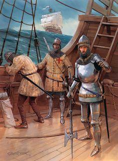 """On board ship, c. 1410: • Archer, 14th century • Archer, 14th century • Knight, early 15th century"", Graham Turner"