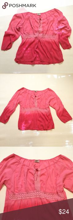 """Pink Ombré Boho Blouse Size 18/20. Bust approx 47"""" length approx 25.5"""" arm length from armpit approx 16"""". 67% rayon 33% cotton. Tops Blouses"""