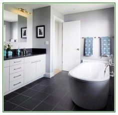 grey and blue bathroom ideas navy blue and silver bathroom ideas navy blue and white bathroom, Grey Bathroom Paint, Black Tile Bathrooms, Small Bathroom Furniture, Teal Bathroom Decor, Silver Bathroom, Rustic Bathroom Vanities, Bathroom Colors, White Bathroom, Bathroom Wall
