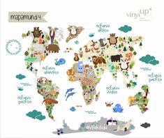 vinilo mapamundi infantil con animales 220x180cm divino!!!!