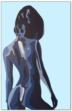 """An original painting...  """"Moody Blues"""" is a contemporary painting inspired by the beauty of the female form and the song """"Nights in White Satin"""""""