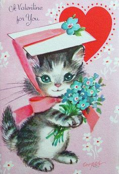 25 Darling Vintage Valentine Kitty Cat Cards Deba Do Tell Valentines Day Cat, Valentines Greetings, Valentine Greeting Cards, Vintage Valentine Cards, My Funny Valentine, Vintage Greeting Cards, Vintage Holiday, Valentine Crafts, Vintage Postcards