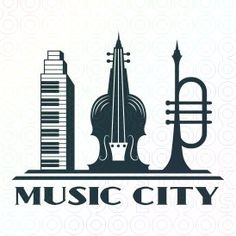 Logo for sale: Three musical instruments: piano Keys, violin and trumpet created to look like city sky scrapers. Trumpet Music, City Logo, Make Your Own Logo, City Sky, Music Logo, Premium Logo, Piano Keys, Logo Design, Graphic Design