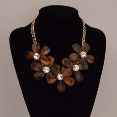 Tortoise flower necklace Tortoise flower statement by shop2lopez, $17.49